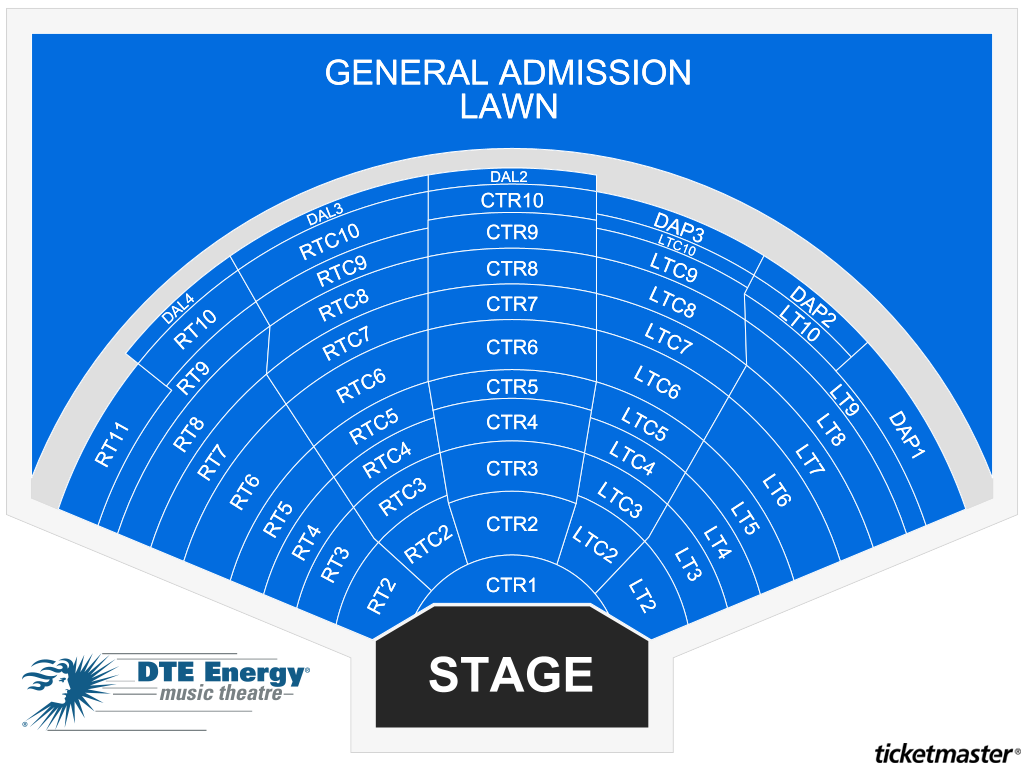 DTE Energy Music Theatre Seating Map