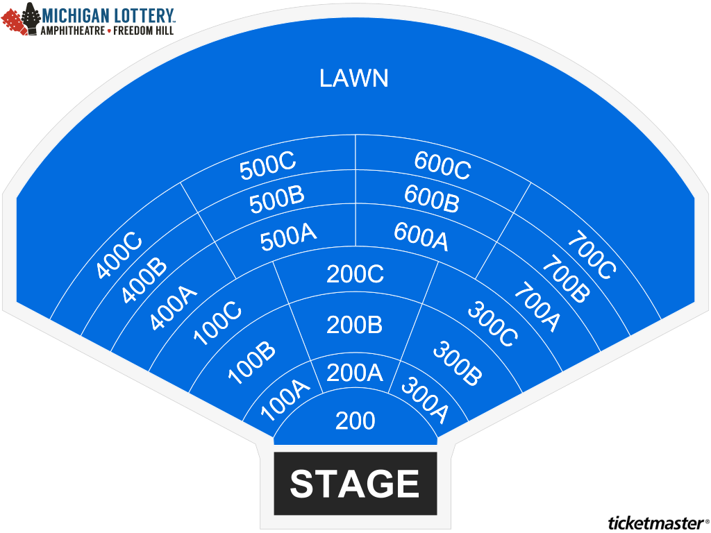 Michigan Lottery Amphitheatre Seating Map