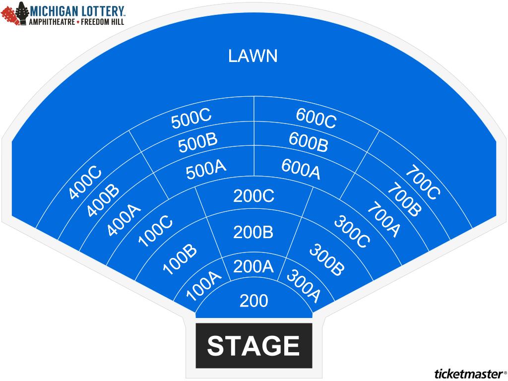 Michigan Lottery Amphitheatre Seating Map