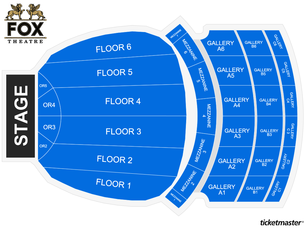 Fox Theatre Seating Map