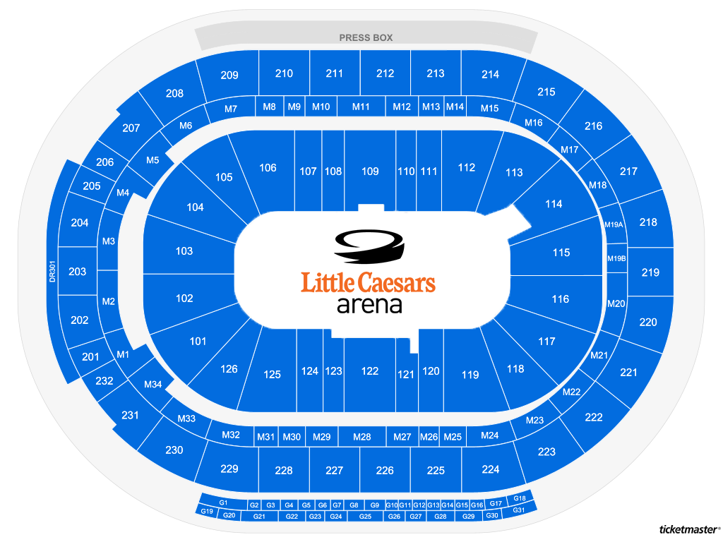 Little Caesars Arena Generic Seating Map