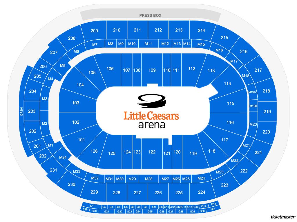 Little Caesars Arena Generic Seating Map