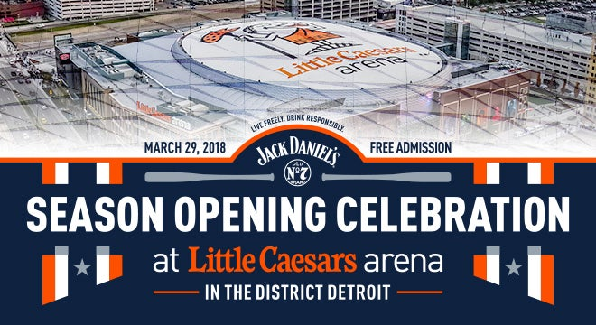 More Info for FANS INVITED TO JACK DANIEL'S SEASON OPENING CELEBRATION AT LITTLE CAESARS ARENA IN CONJUNCTION WITH DETROIT TIGERS HOME OPENER