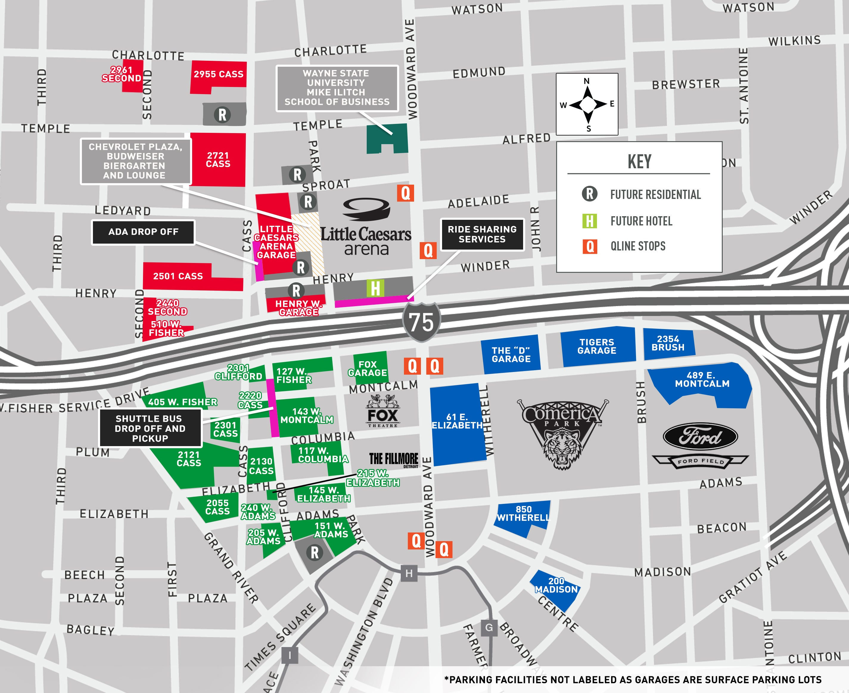 Directions Parking Presents - Us open parking lot map