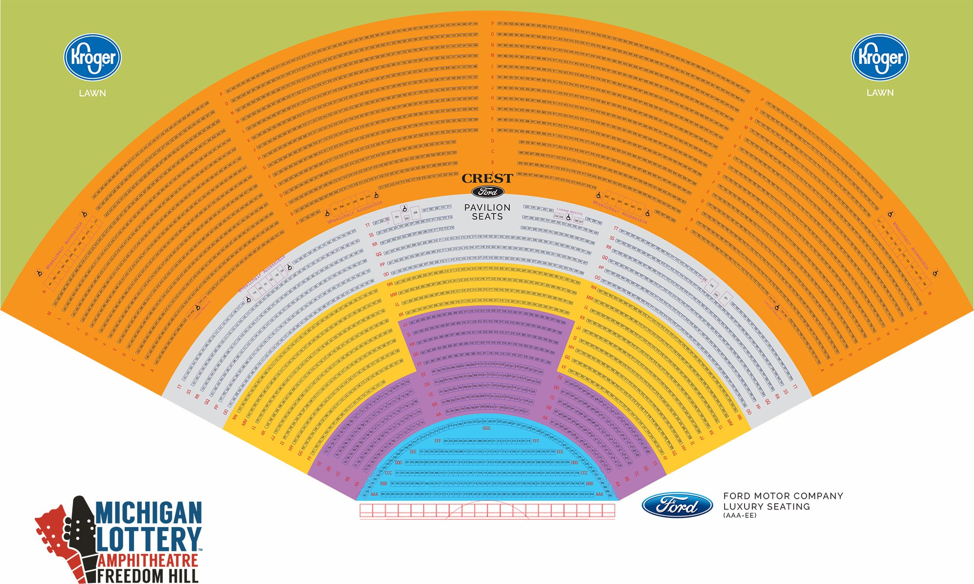 Michigan Lottery Amphitheatre at Freedom Hill Seating Map